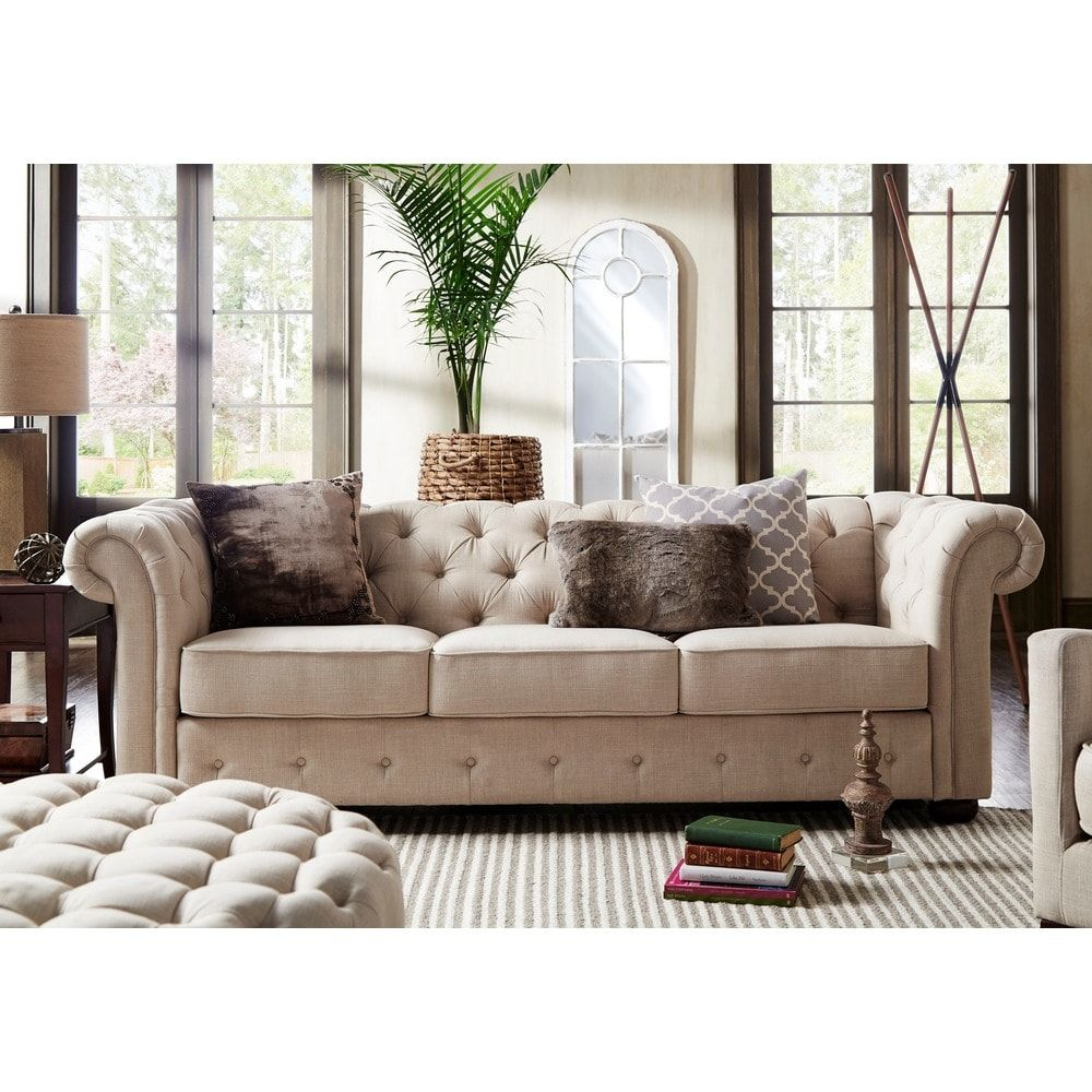 Knightsbridge Beige Fabric Button Tufted Chesterfield Sofa Intended For Artisan Beige Sofas (View 8 of 15)