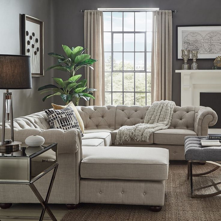 Knightsbridge Tufted Chesterfield U Shape Sectional With Intended For Artisan Beige Sofas (View 3 of 15)