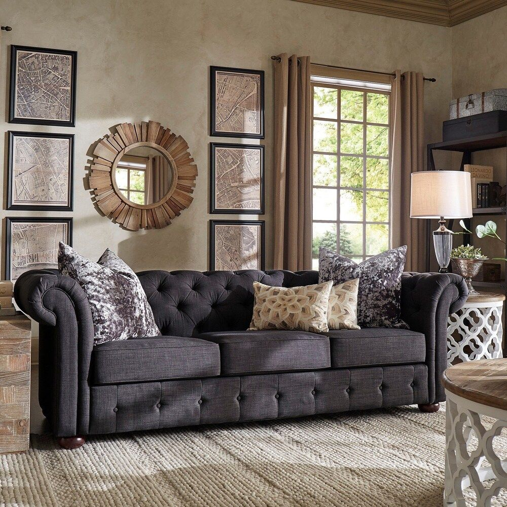 Knightsbridge Tufted Scroll Arm Chesterfield Sofa Within Artisan Beige Sofas (View 2 of 15)