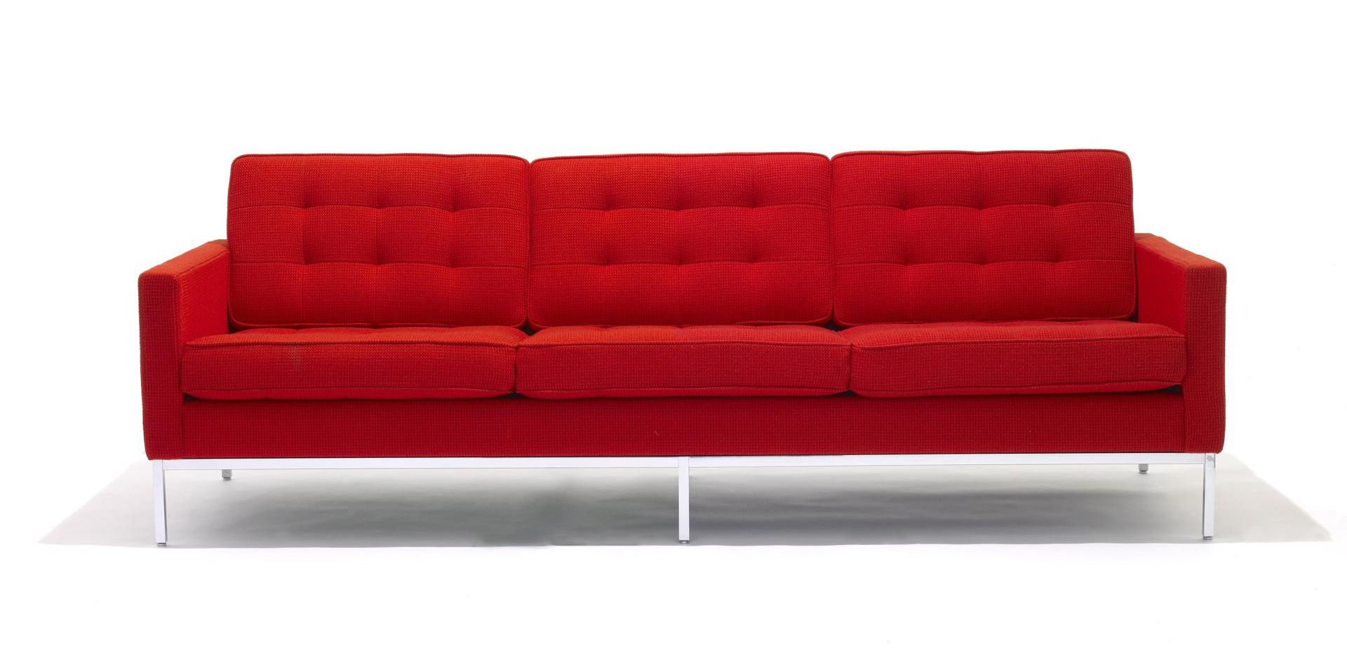 Knoll Florence Knoll 3 Seater Sofa Fabric Red Crop – Film Within Florence Knoll Fabric Sofas (View 15 of 15)