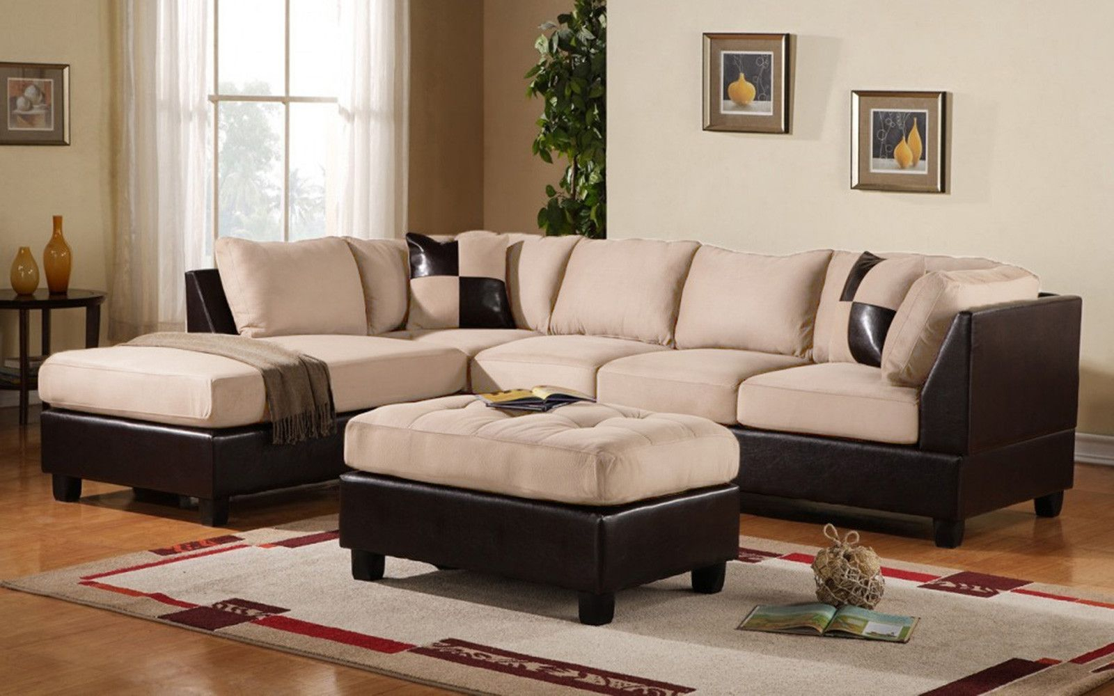 Koko Microfiber Bonded Leather Sectional | Microfiber With Regard To 3Pc Bonded Leather Upholstered Wooden Sectional Sofas Brown (View 1 of 15)