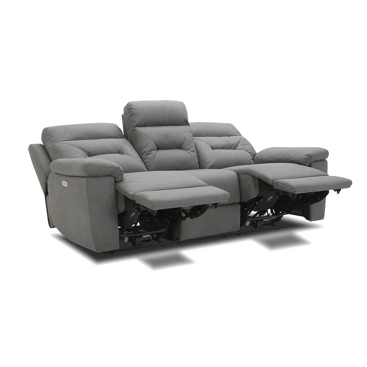 Kuka Justin Grey Fabric Power Reclining 3 Seater Sofa Pertaining To Raven Power Reclining Sofas (View 3 of 15)