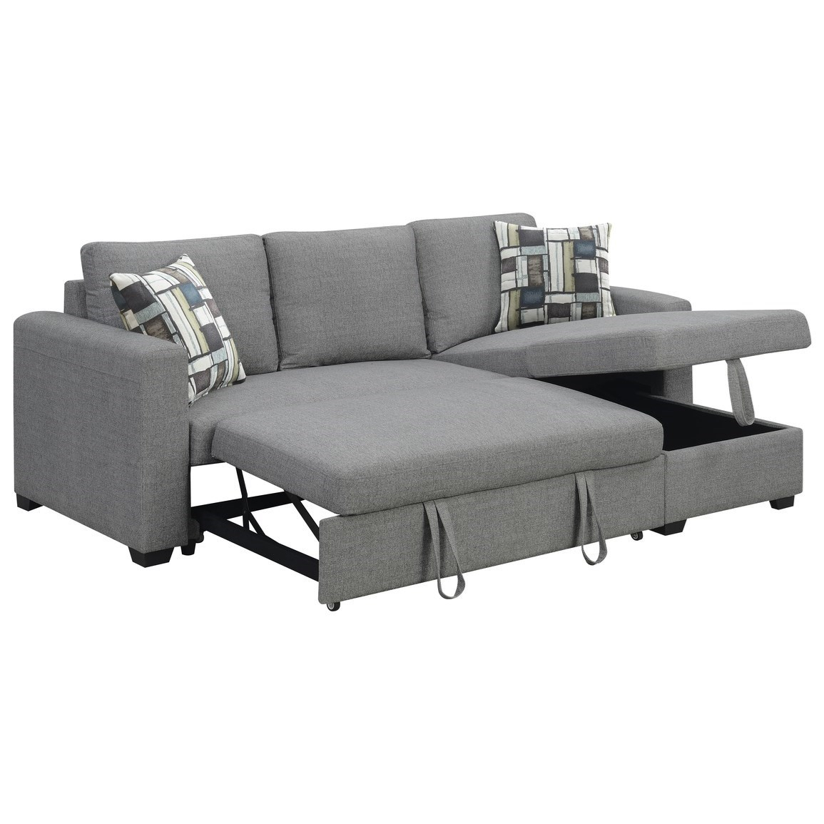 Langley 2 Piece Sectional With Reversible Chaise   Sadler Within Palisades Reversible Small Space Sectional Sofas With Storage (View 9 of 15)
