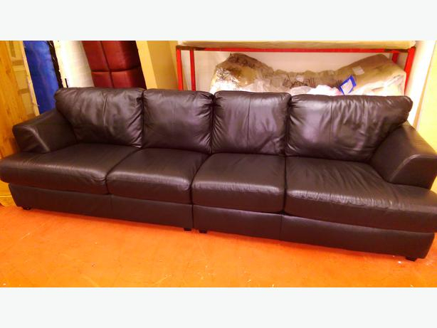 Large 4 Seater Leather Sofa  Black Bilston, Dudley Throughout Four Seater Sofas (View 13 of 15)