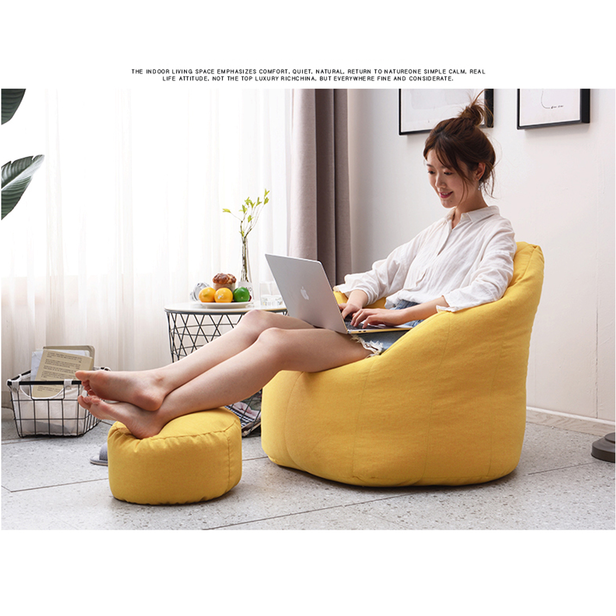 Large Bean Bag Sofa Cover (Just Cover) Lounger Chair Sofa Pertaining To Bean Bag Sofas And Chairs (Photo 5 of 15)
