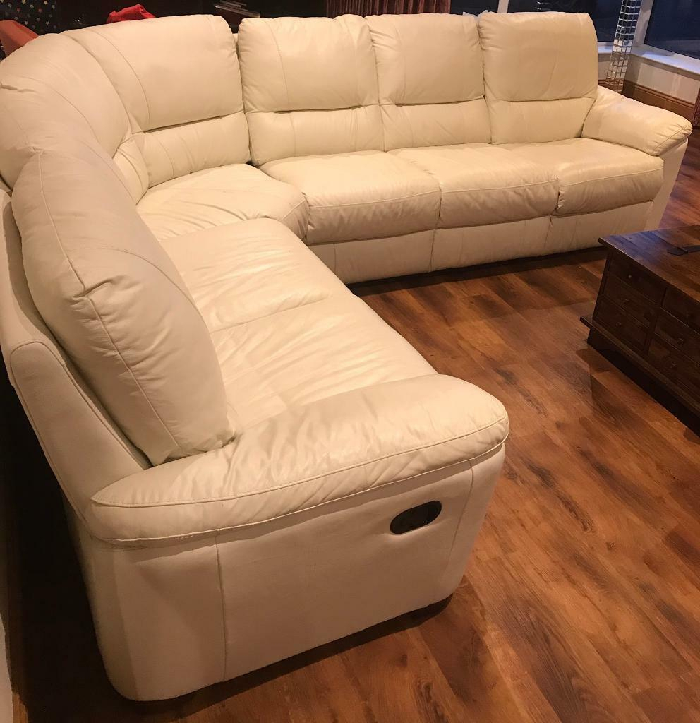 Large Cream/White Leather Corner Sofa   In Bushmills Throughout Leather Corner Sofas (View 10 of 15)