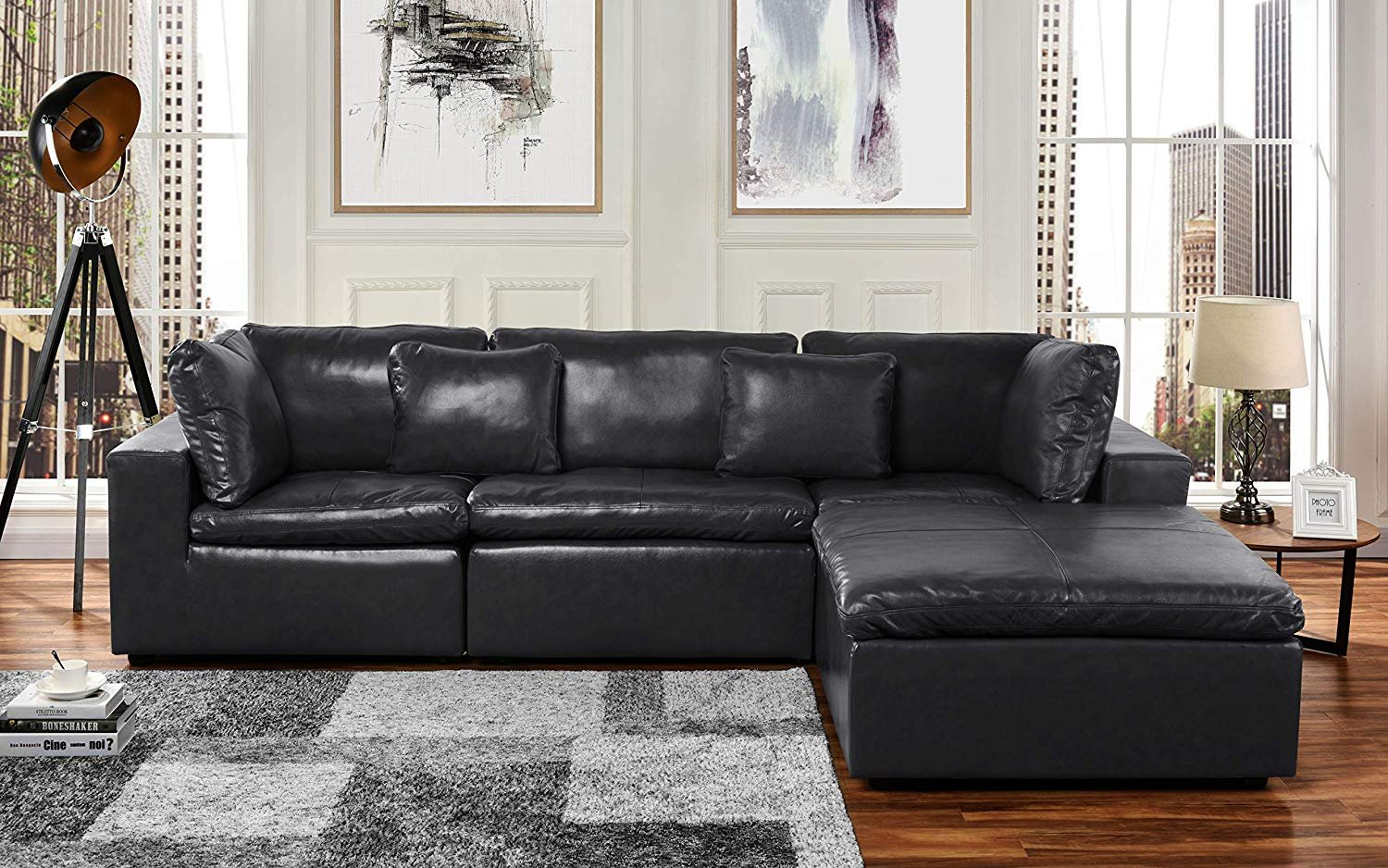 Large Leather Sectional Sofa, L Shape Couch With Wide Pertaining To Sectional Sofas (View 8 of 15)