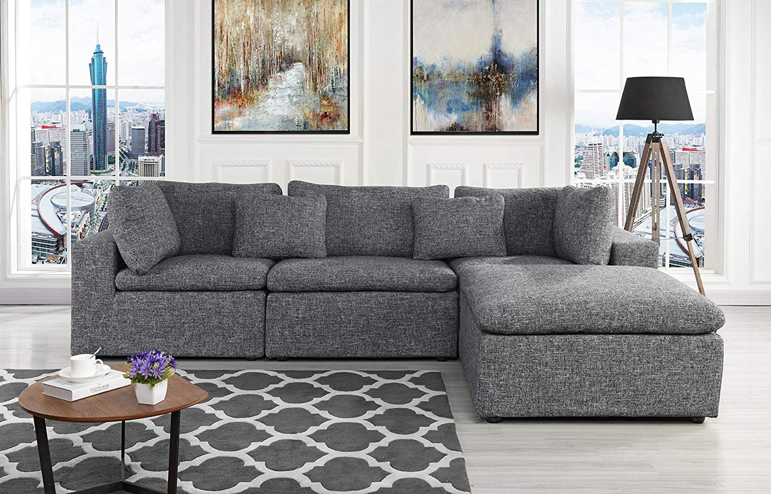 Large Linen Fabric Sectional Sofa, L Shape Couch With Wide Regarding 2Pc Crowningshield Contemporary Chaise Sofas Light Gray (View 1 of 15)