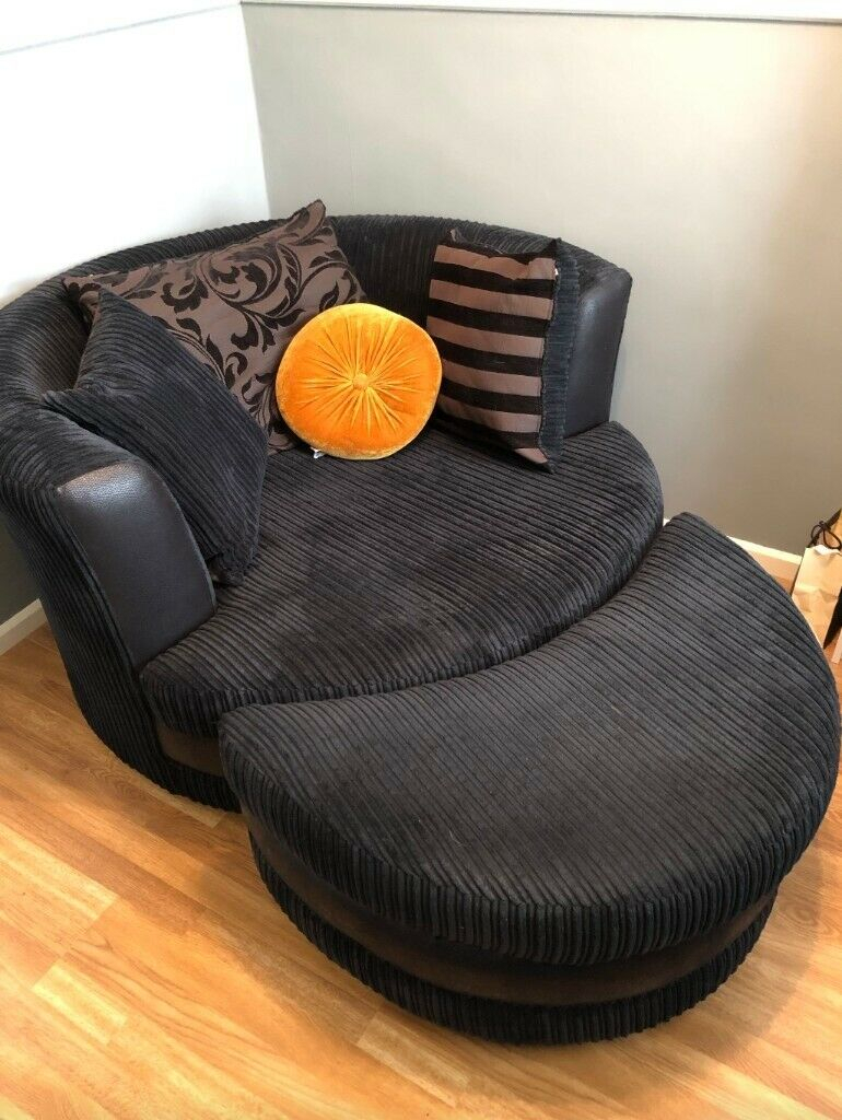 Large Swivel Cuddler Chair With Footstool / Pouffe | In Regarding Cuddler Swivel Sofa Chairs (View 14 of 15)