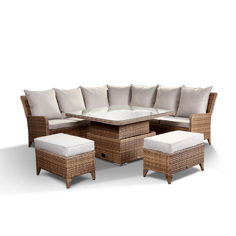 Laytona Large High Back Corner Sofa Set With Rising Table With Sofas With High Backs (View 7 of 15)
