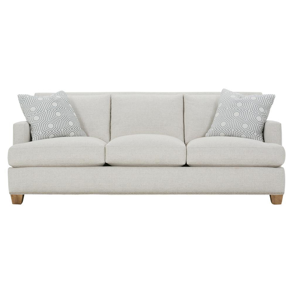 Leandra Modern Classic Grey Upholstered Nailhead Trim Sofa Pertaining To Radcliff Nailhead Trim Sectional Sofas Gray (View 13 of 15)