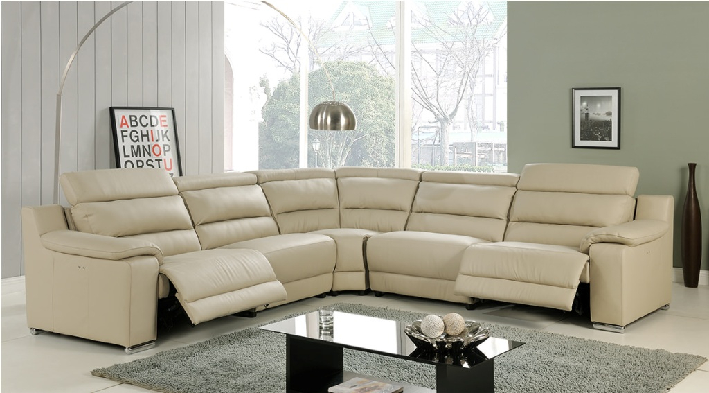 Leather Beige Sectional Sofa : Home Ideas Collection Intended For 4Pc Beckett Contemporary Sectional Sofas And Ottoman Sets (View 3 of 15)