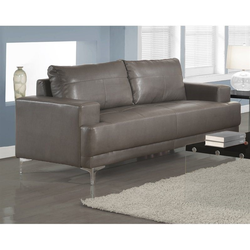 Leather Sofa In Charcoal Gray – I8603Gy For Charcoal Grey Sofas (View 14 of 15)