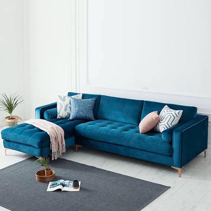 Levi Blue Velvet Corner Sectional Sofa – 120 Inches Left For Strummer Velvet Sectional Sofas (View 13 of 15)