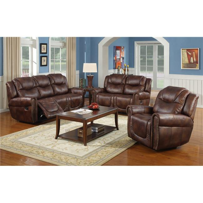 Lifestyle Furniture Lsfgs3700 3 Piece Luxurious Reclining Inside 3Pc Bonded Leather Upholstered Wooden Sectional Sofas Brown (View 4 of 15)