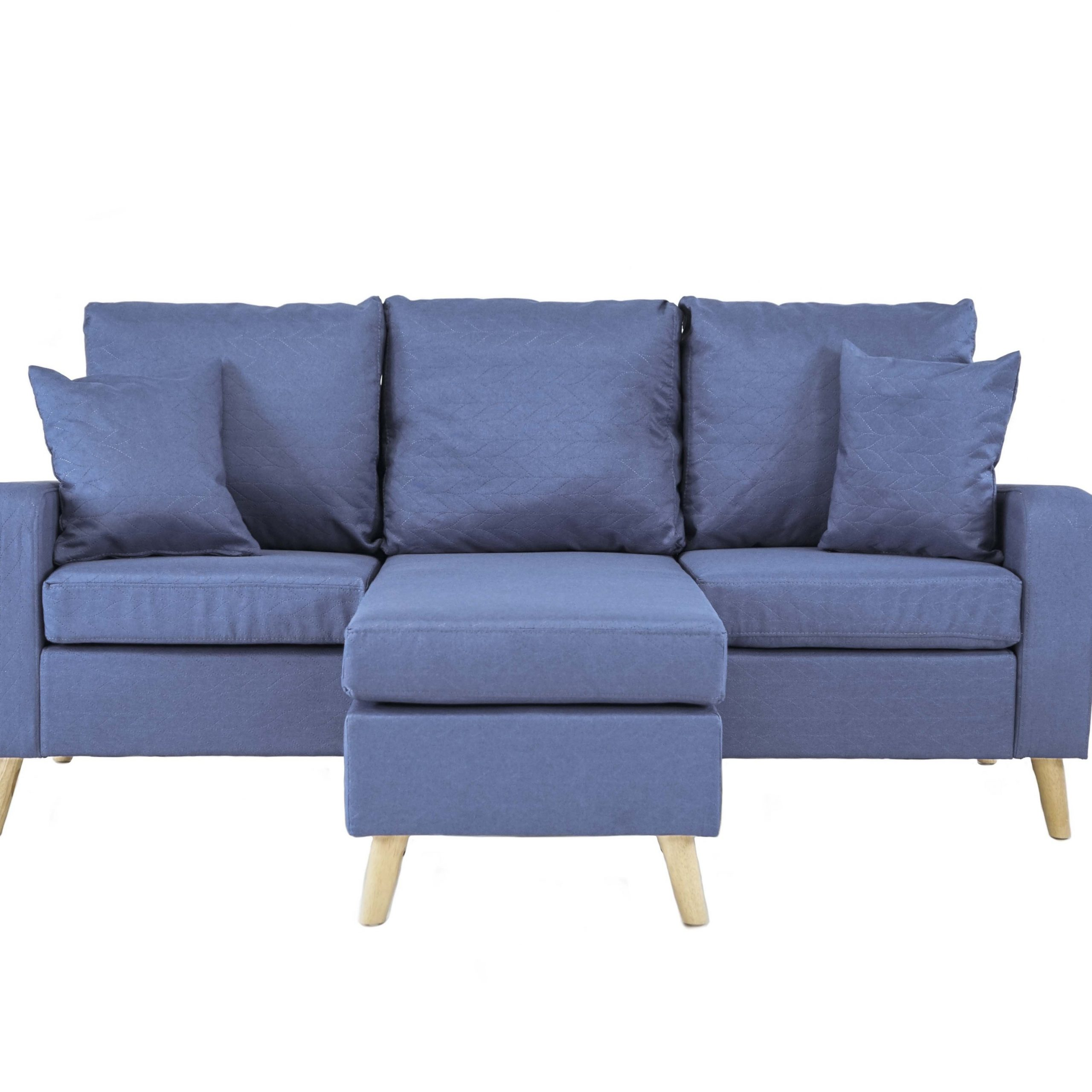 Light Blue Small Space Furniture Sectional Sofa With Within Dulce Mid Century Chaise Sofas Dark Blue (View 7 of 15)