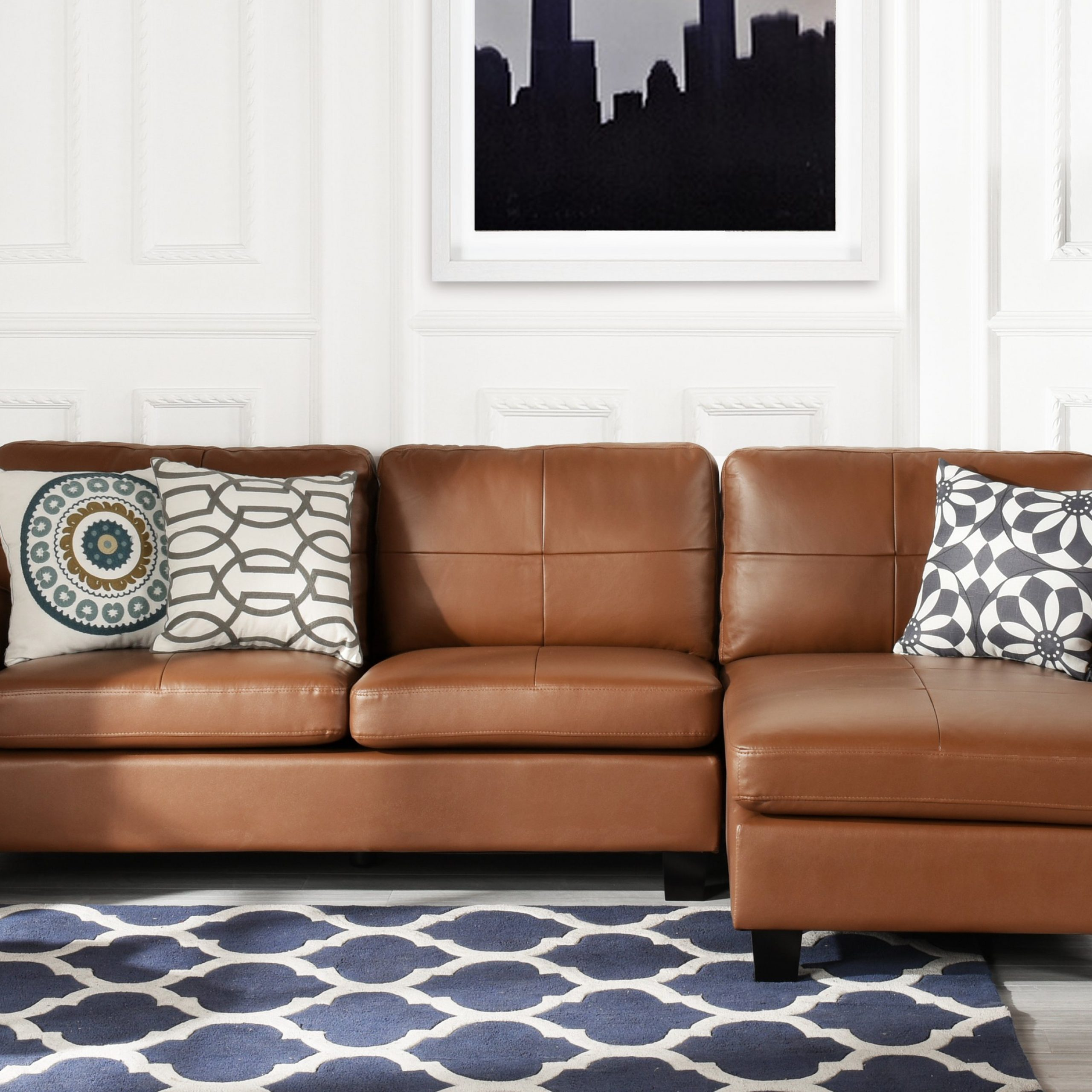 Light Brown Leather Match Upholstered Sectional Sofa, L For Lounge Sofas And Chairs (View 8 of 15)