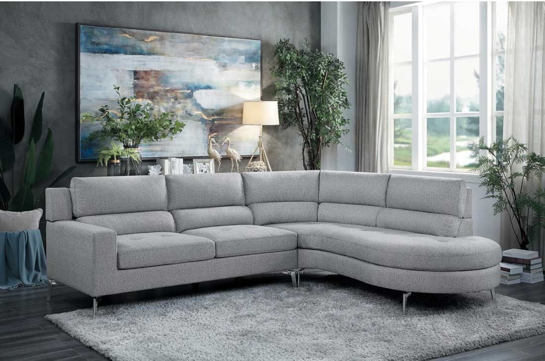 Light Gray Fabric Sectional Sofa He879   Fabric Sectional Throughout Sectional Sofas (View 12 of 15)