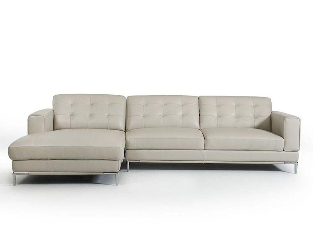 Light Grey Leather Sectional Sofa In Contemporary Style Intended For Ludovic Contemporary Sofas Light Gray (View 10 of 15)