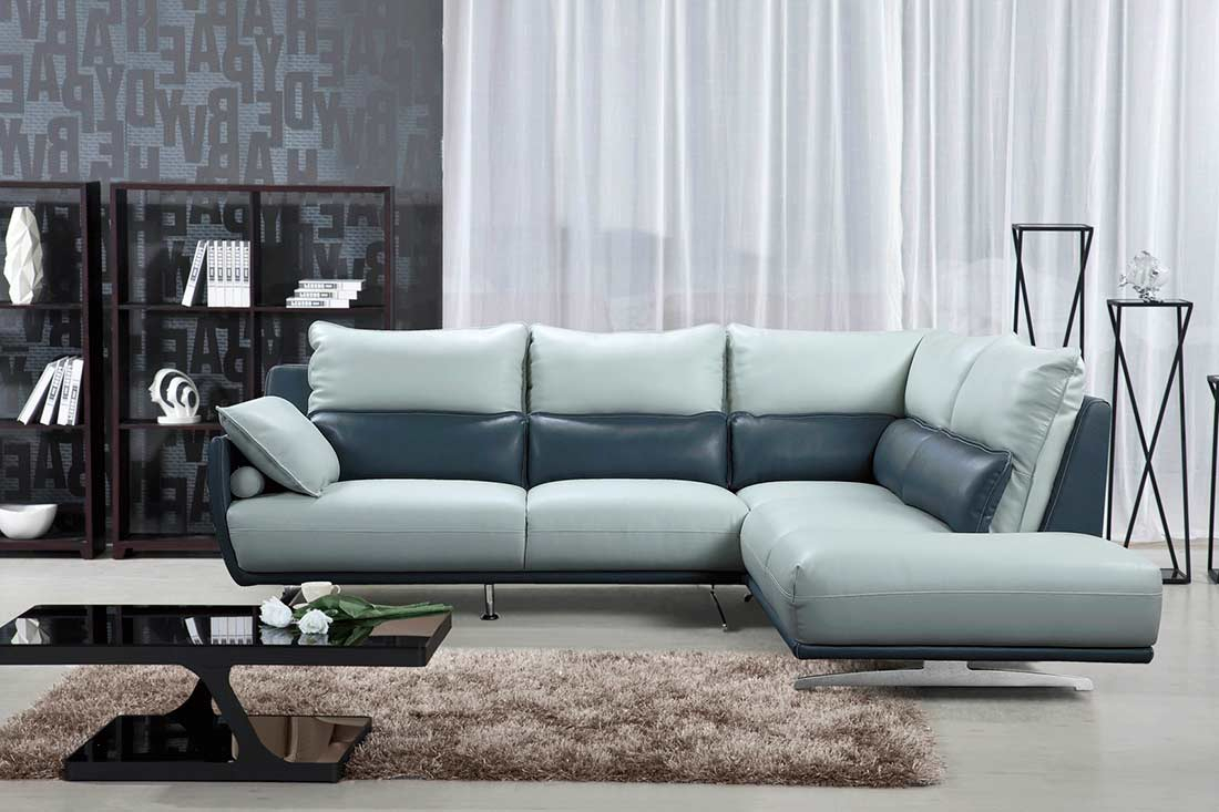 Light Grey With Blue Sectional Sofa Ef 311 | Leather Pertaining To Ludovic Contemporary Sofas Light Gray (View 4 of 15)