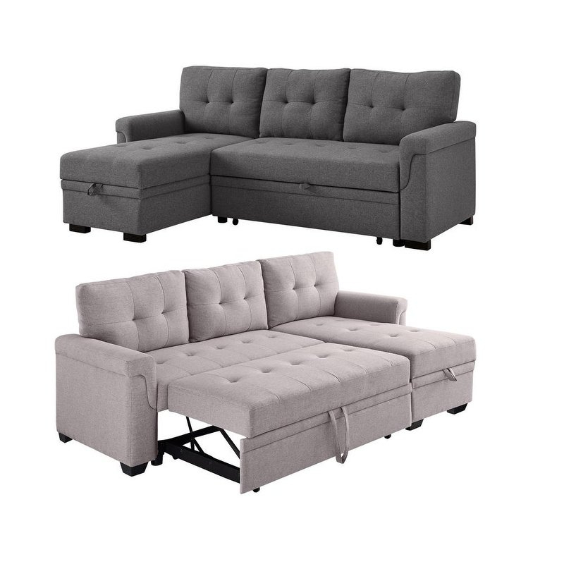 Lila Lucca Linen Reversible Sleeper Sectional Sofa Left Side Inside Debbie Coil Sectional Futon Sofas (Photo 3 of 15)