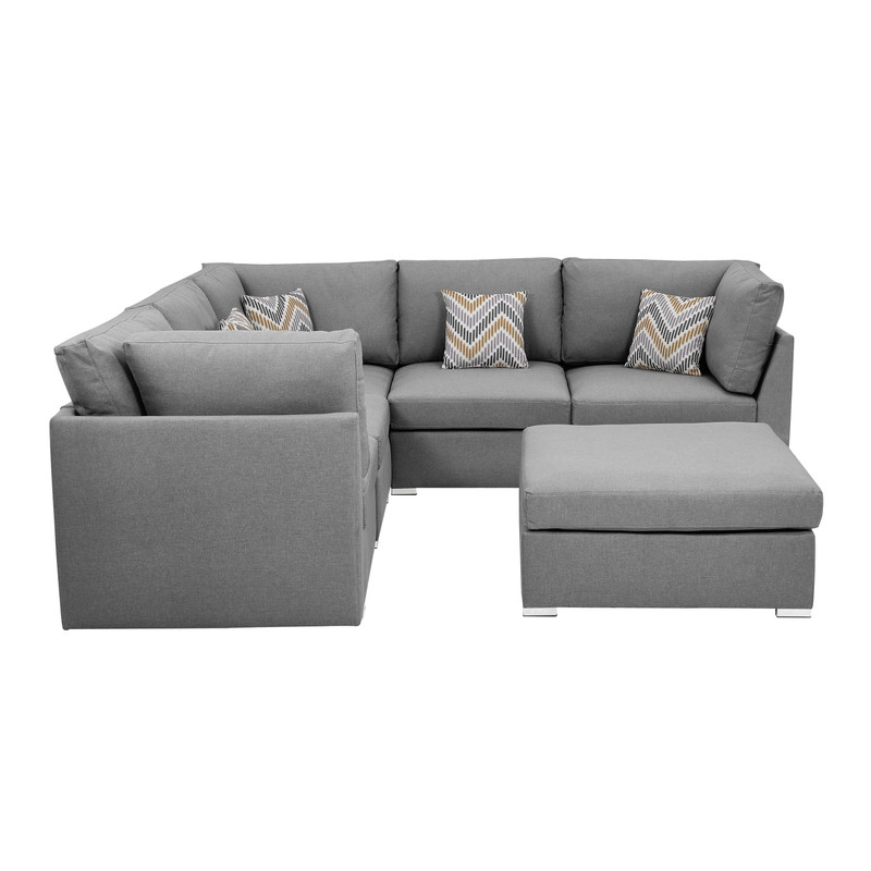 Lilola Home Amira Fabric Reversible Sectional Sofa With Intended For Clifton Reversible Sectional Sofas With Pillows (View 13 of 15)