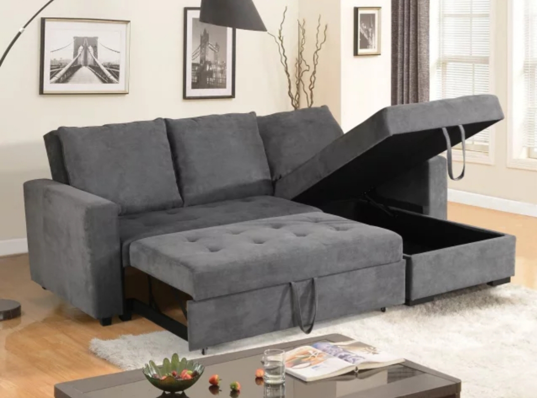 Livi King Size Sectional Sofa Bed – Reversible Chaise With Prato Storage Sectional Futon Sofas (View 4 of 15)