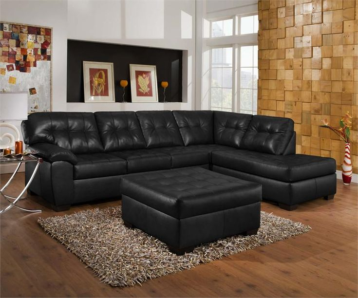Living Room Decorating Ideas With Black Leather Sofa Throughout Bonded Leather All In One Sectional Sofas With Ottoman And 2 Pillows Brown (View 2 of 15)