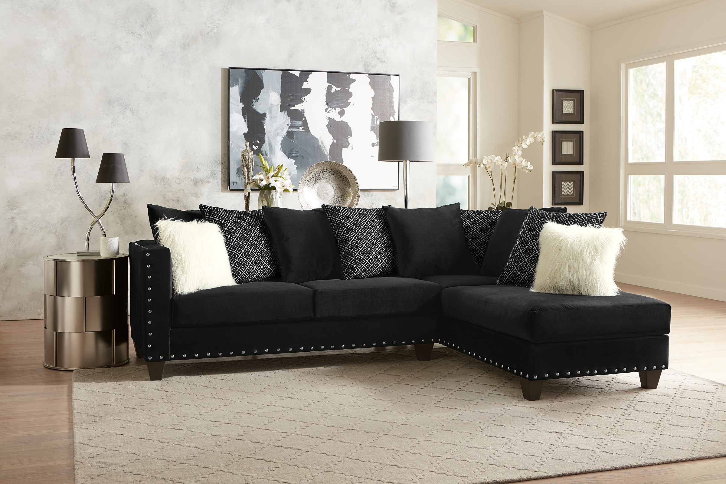 Living Room Modern Classic Black Fabric Sectional Sofa 2Pc In 4Pc Crowningshield Contemporary Chaise Sectional Sofas (View 11 of 15)