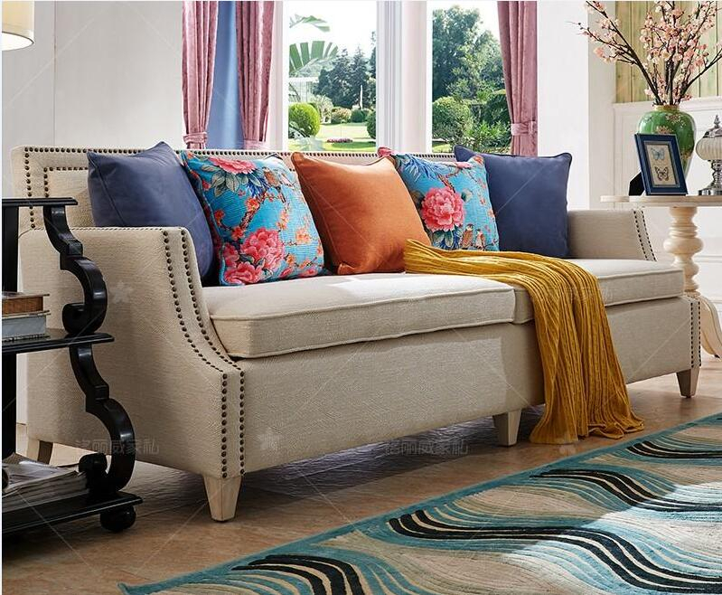 Living Room Sofa Set Home Furniture Modern Linen Hemp Pertaining To Country Sofas And Chairs (View 10 of 15)