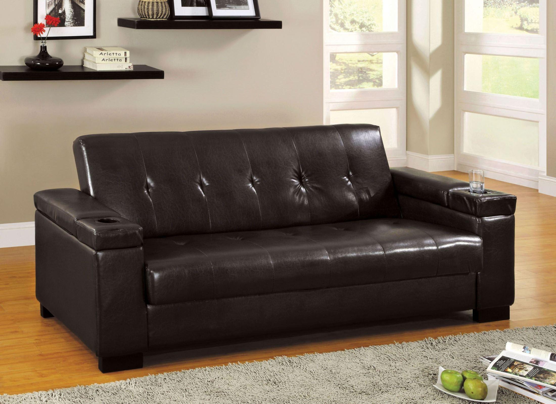 Logan Leatherette Futon Storage Sofa From Furniture Of With Regard To Prato Storage Sectional Futon Sofas (View 14 of 15)