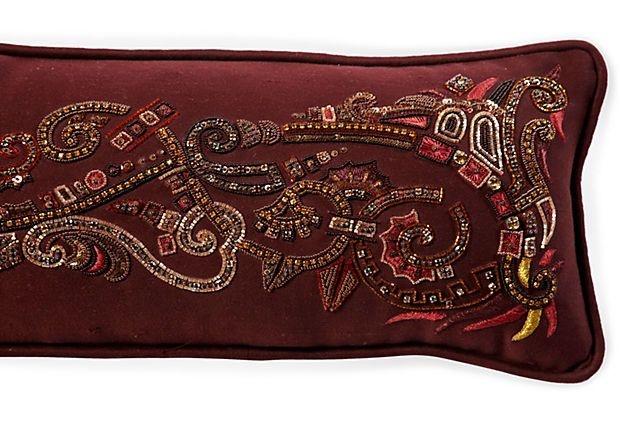 Long Burgundy Beaded Pillow   Beaded Pillow, Burgundy With 4Pc French Seamed Sectional Sofas Oblong Mustard (View 3 of 15)
