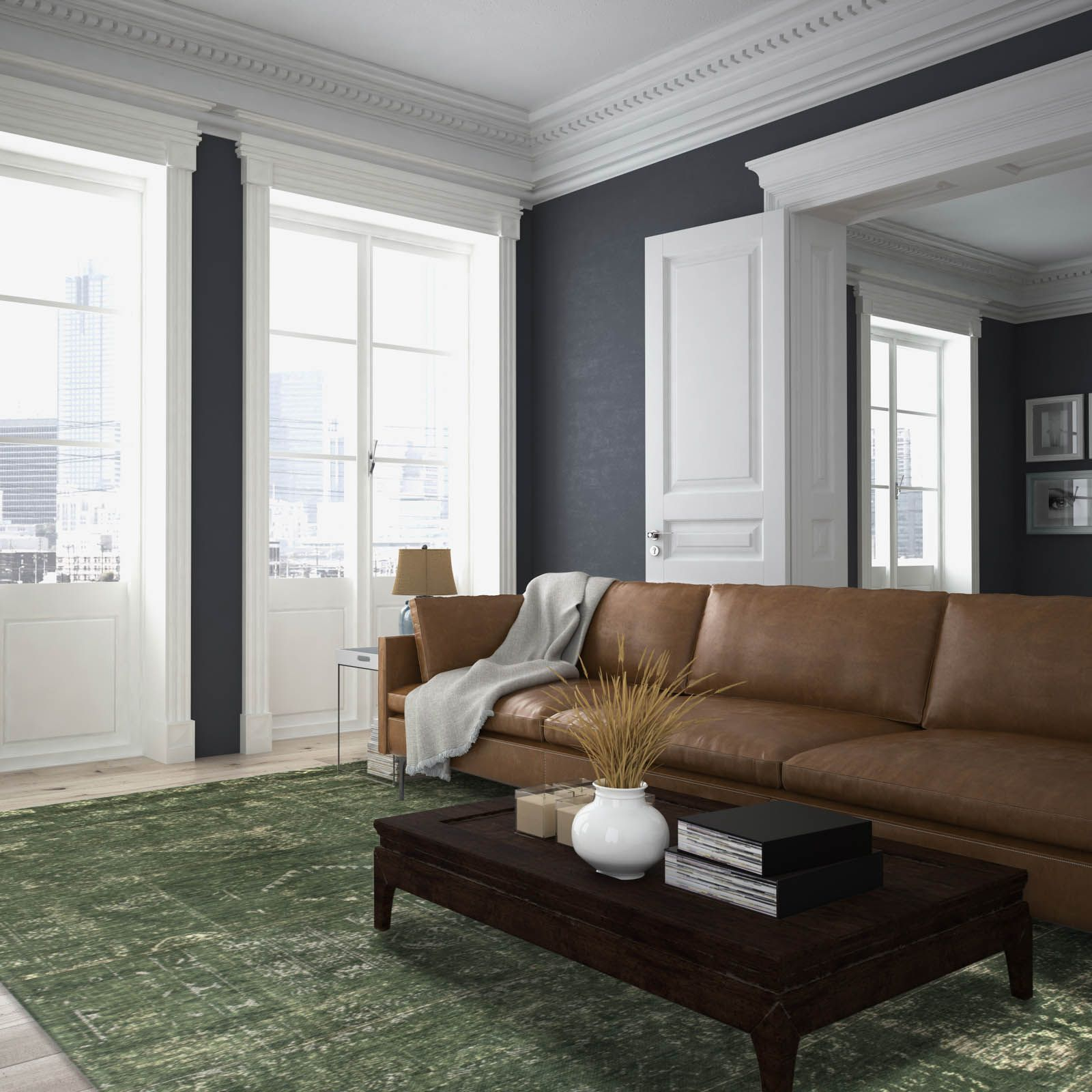 Louis De Poortere Fading World Rugs 8271 Perrier Green With Regard To Cromwell Modular Sectional Sofas (View 15 of 15)