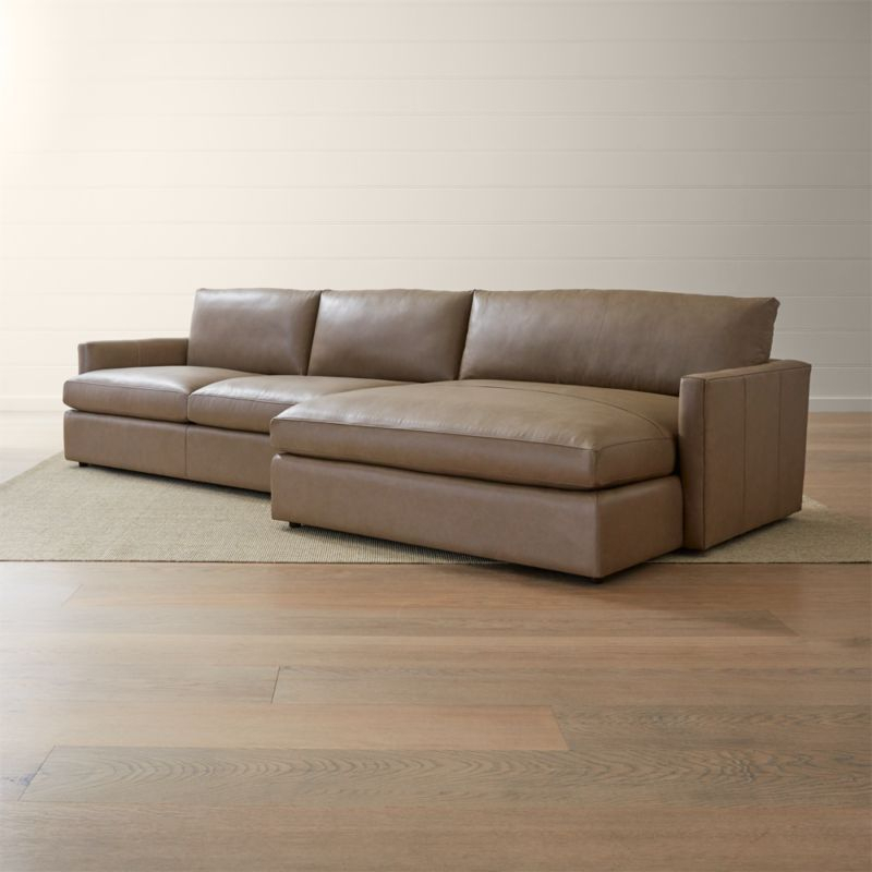 Lounge Ii Petite Leather 2 Piece Right Arm Double Chaise Inside 2Pc Burland Contemporary Chaise Sectional Sofas (View 10 of 15)