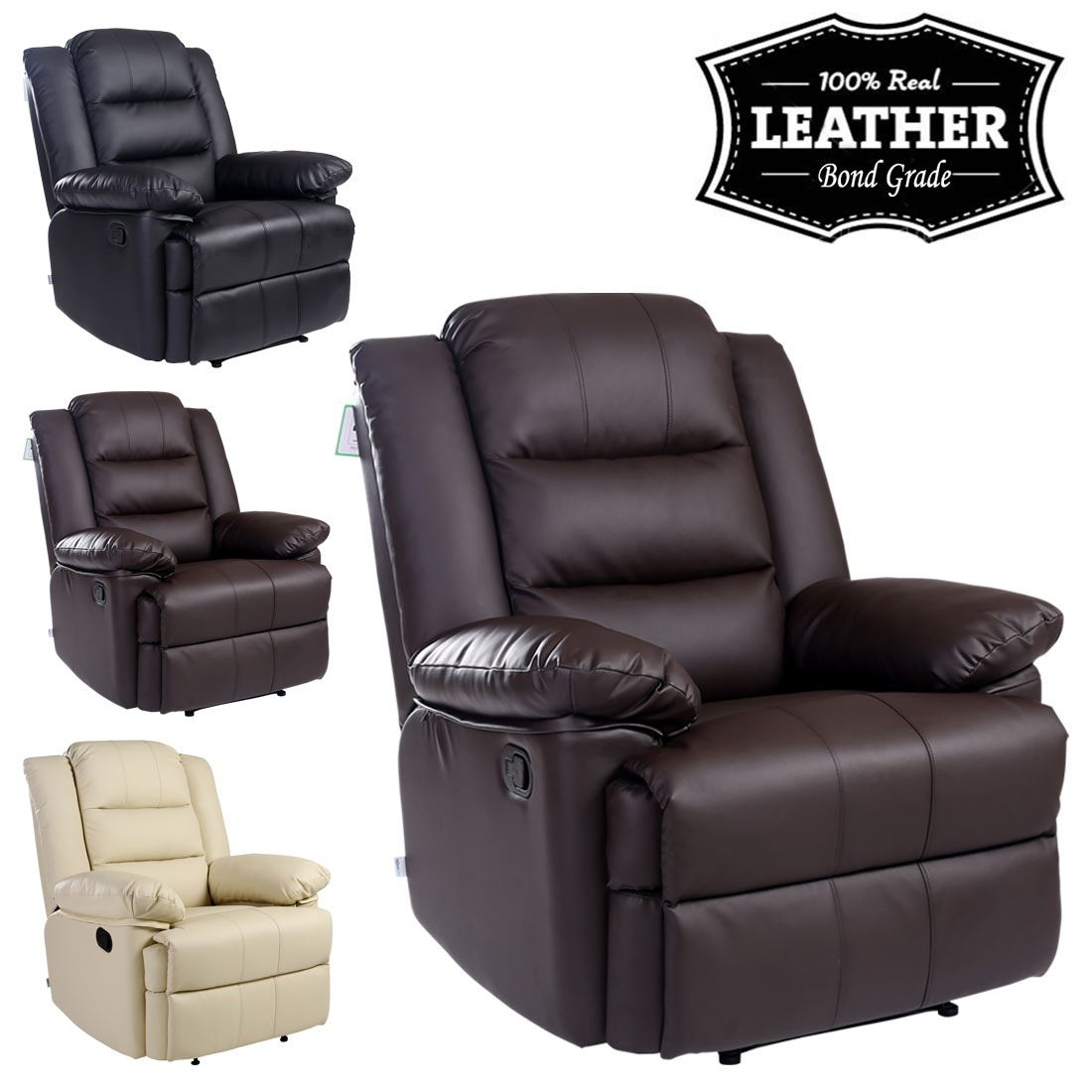 Loxley Leather Recliner Armchair Sofa Home Lounge Chair Pertaining To Sofa Lounge Chairs (View 5 of 15)