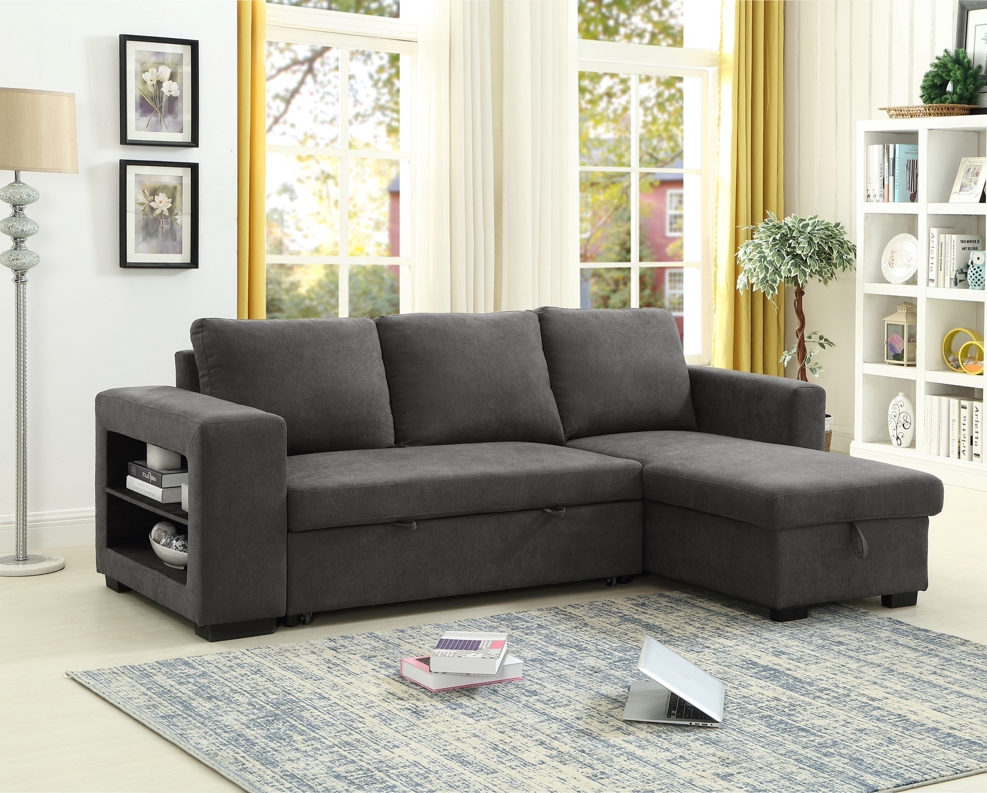 Lucena Reversible Sectional Sofa/Sofa Bed With Storage For Palisades Reversible Small Space Sectional Sofas With Storage (View 3 of 15)