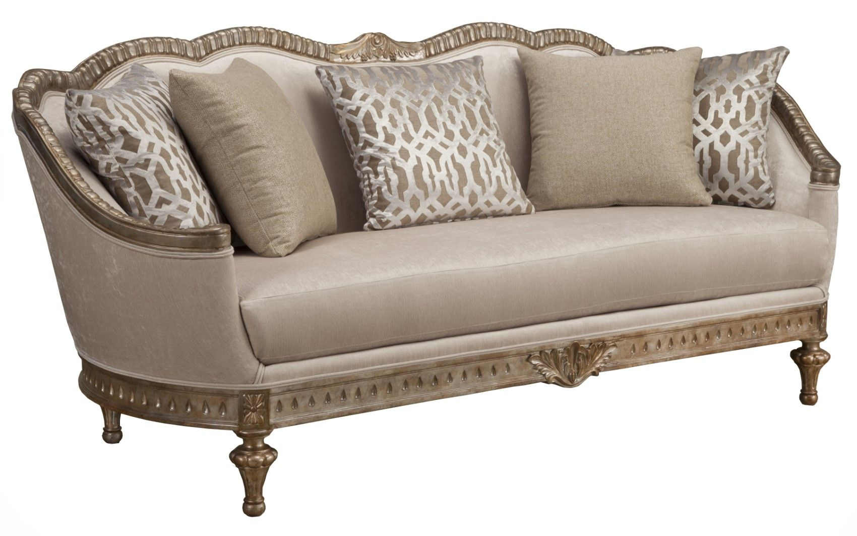 Lugano Traditional Beige Fabric Cabriole Sofa With Exposed For Fabric Sofas (View 14 of 15)