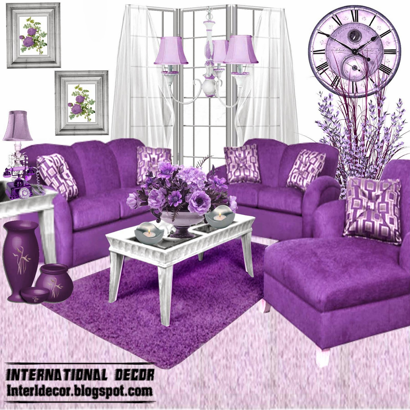 Luxury Purple Furniture, Sets, Sofas, Chairs For Living Inside Living Room Sofa And Chair Sets (View 2 of 15)