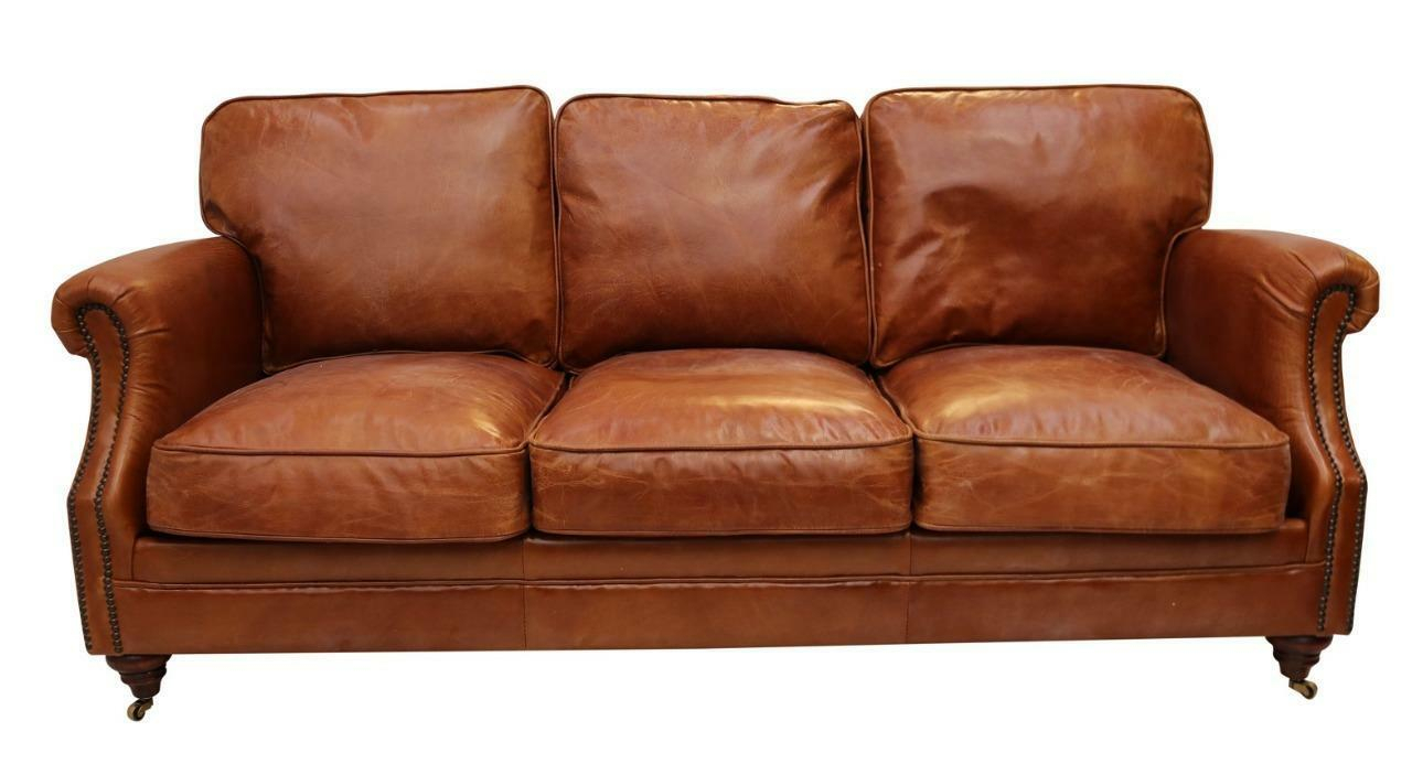 Luxury Vintage Distressed Leather 3 Seater Settee Sofa In 3 Seater Leather Sofas (View 8 of 15)
