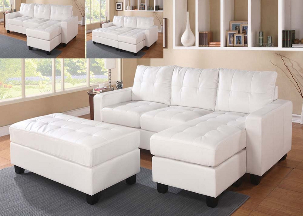 Lyssa White Bonded Leather Match Sectional Sofa + Ottoman Inside Sectional Sofas In White (View 12 of 15)