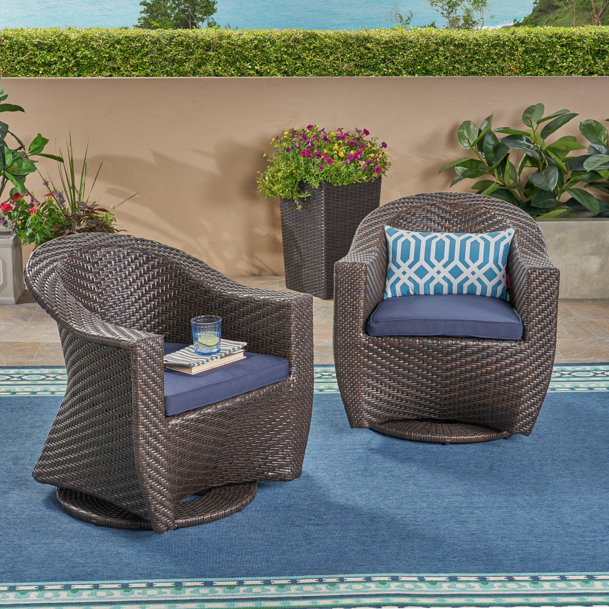 Mackenzie Outdoor Swivel Wicker Chairs With Cushions, Set With Regard To Swivel Sofa Chairs (View 13 of 15)