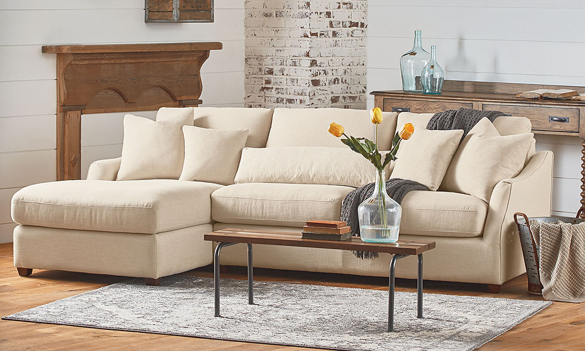 Magnolia Home Homestead Linen Sofa Chaise | The Dump With Magnolia Sectional Sofas With Pillows (View 14 of 15)
