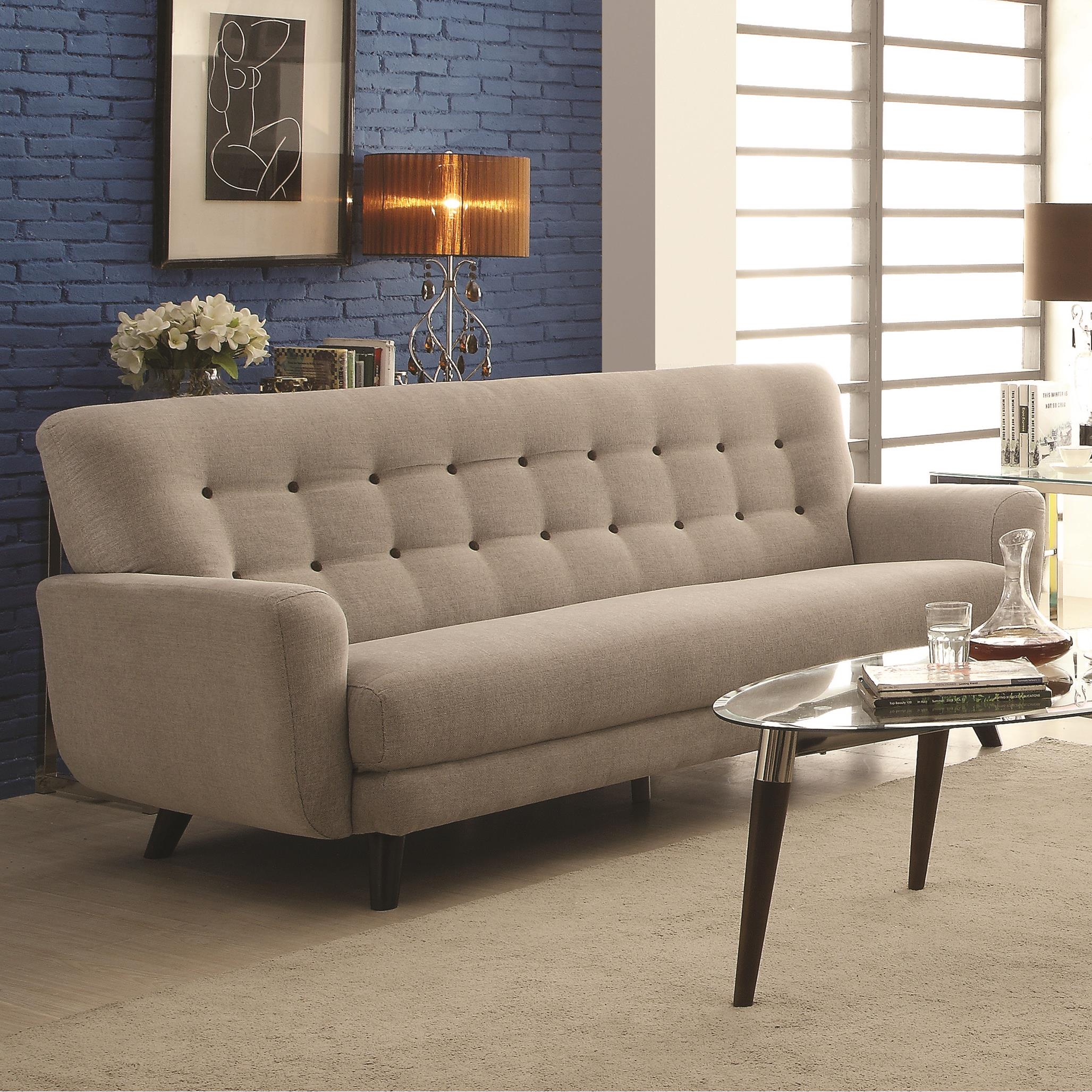 Maguire Contemporary Sofa With Contrast Buttons | Quality With Regard To Sofa With Chairs (View 7 of 15)