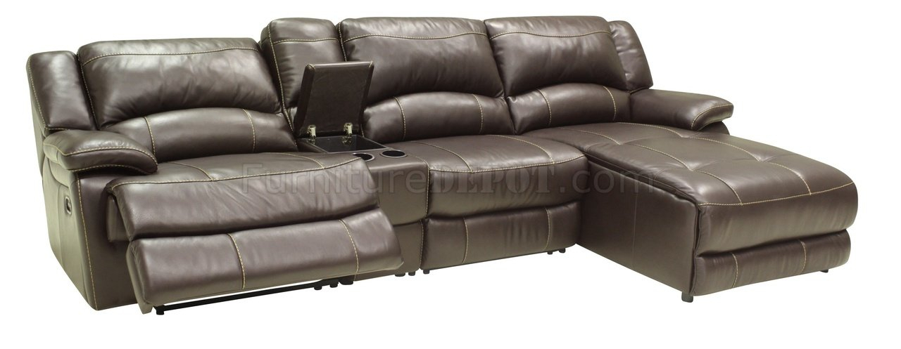 Mahogany Full Leather 4Pc Modern Sectional Reclining Sofa Within 4Pc Beckett Contemporary Sectional Sofas And Ottoman Sets (View 10 of 15)