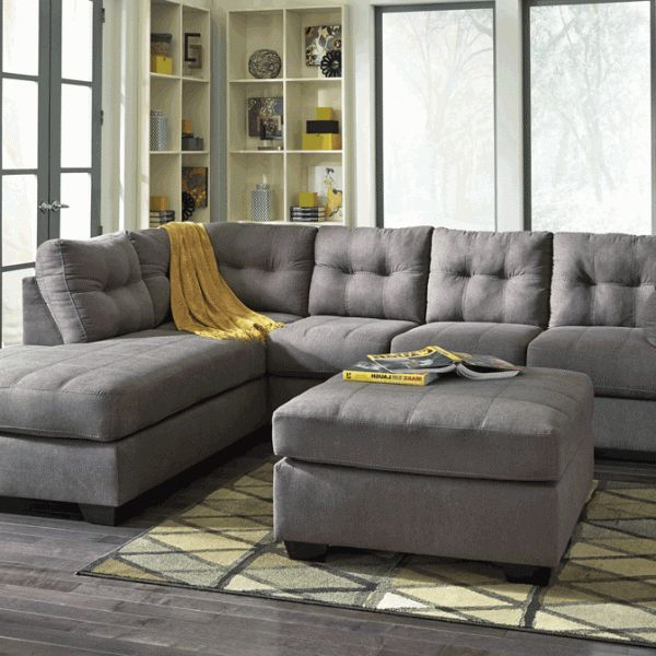 Maier Charcoal Laf Chaise Sectional | Grey Sectional Sofa Intended For 2Pc Luxurious And Plush Corduroy Sectional Sofas Brown (View 11 of 15)