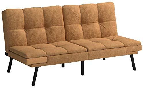 Mainstay* Wooden Frame Memory Foam Split Seat And Back Regarding Celine Sectional Futon Sofas With Storage Camel Faux Leather (View 5 of 15)