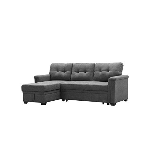 Maklaine Contemporary Gray Fabric Reversible/Sectional Regarding Harmon Roll Arm Sectional Sofas (View 7 of 15)