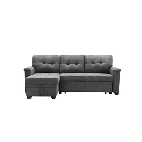 Maklaine Contemporary Gray Fabric Reversible/Sectional Throughout Harmon Roll Arm Sectional Sofas (View 8 of 15)