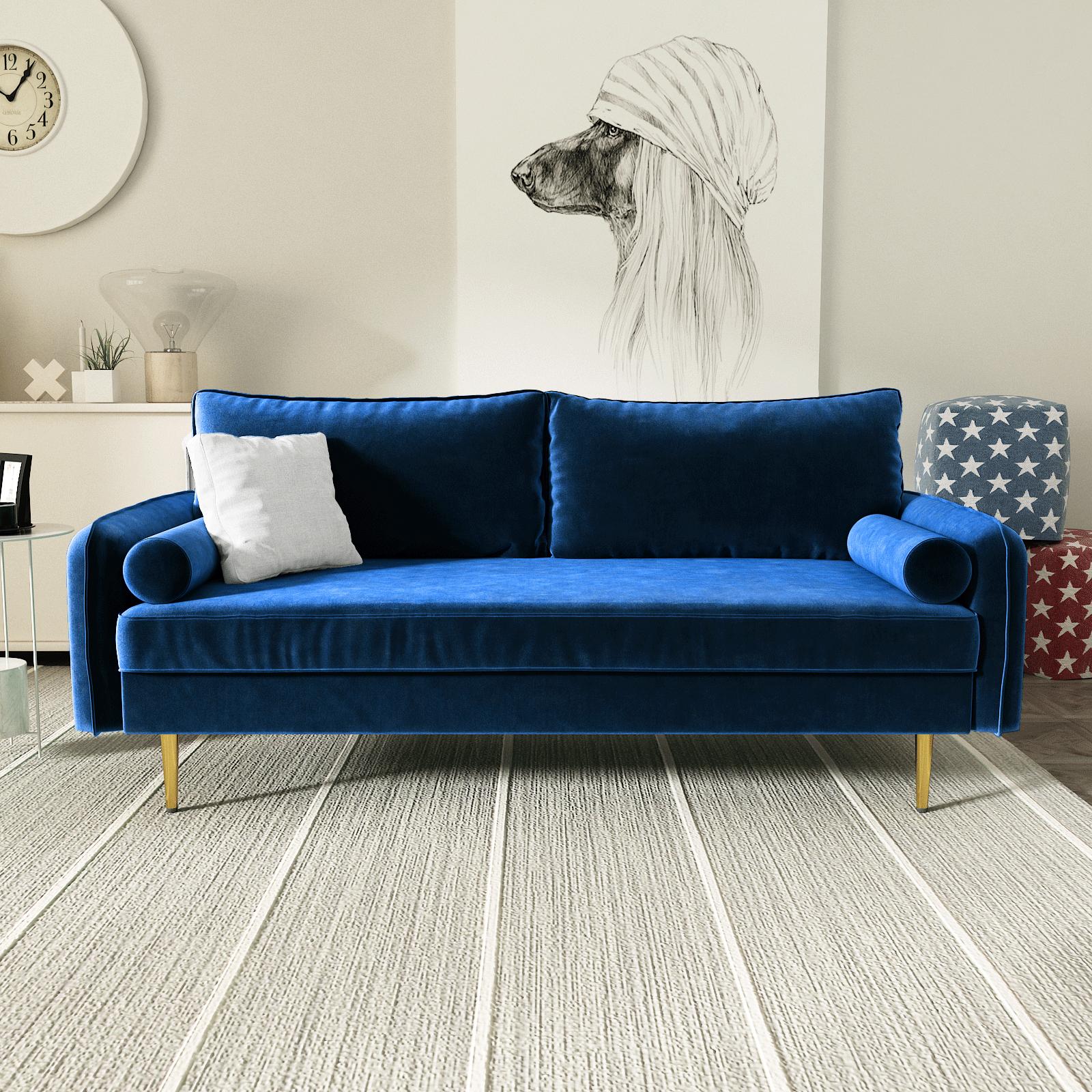 Maryjanet Velvet Sofa Range In Space Blue Ifurniture The Intended For Strummer Velvet Sectional Sofas (View 12 of 15)