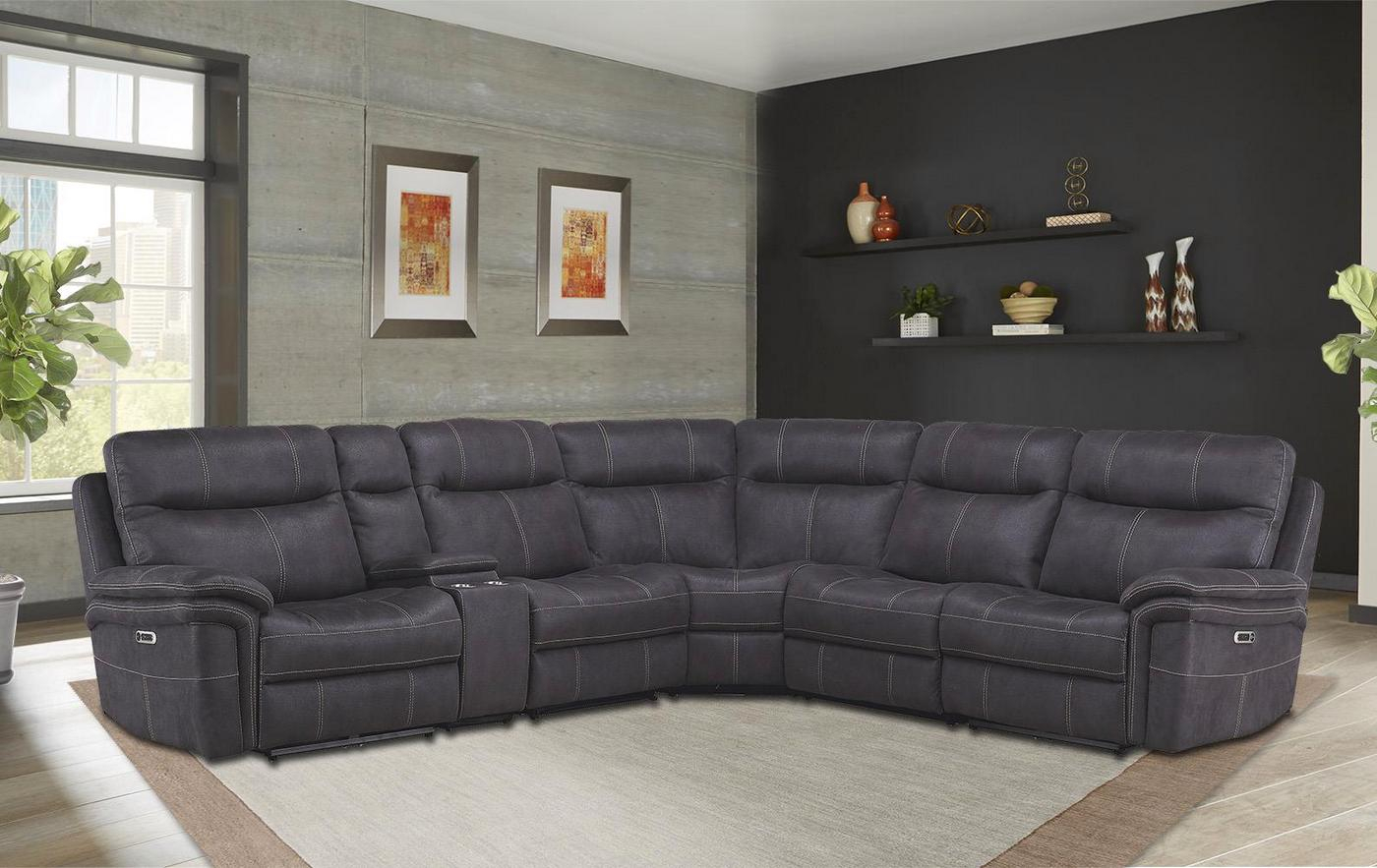 Mason Charcoal Powered Modular Sectional Sofa W/ Power For Armless Sectional Sofas (View 10 of 15)